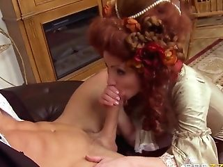 Hot Red-haired Veruca James Rails A Stiff Meat Pole