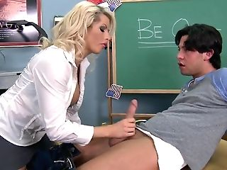 Huge-boobed Schoolteacher Brooke Haven Finds Herself Having To Work An Extra Job Sucking Manhood