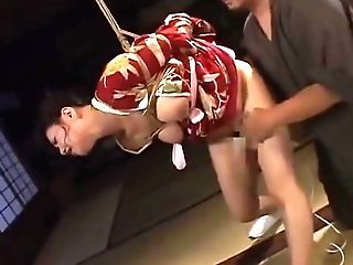 Tied Japanese Cougar Groans While Her Cunny Is Taunted