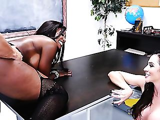 Rigorous Black And Milky Mummies With Phat Boobies Share One Strong Prick