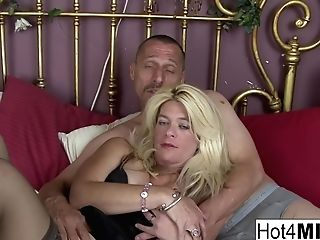 Blonde Mummy Lets Him Jizm In Her Poon