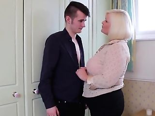Brit Big-titted Granny Suck And Fuck Youthful Boy