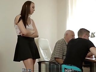 Daddy4k. Old Gent Lightly Tempts Beautiful Ginger-haired To..