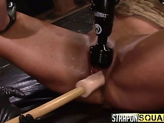 Two Pervy Mistresses Fuck Snatch Of One Buxomy Tied Up G/g Hooker