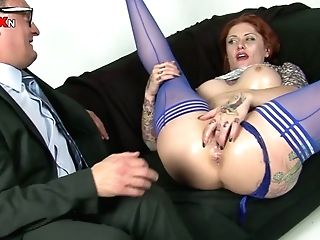 Sandy-haired Mega-bitch With Trashy Look Seduced Old Uncle Playing With Her Fuckbox Right In Front Of Him