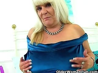 English Cougar Christina X Puts Purple Faux-cock To Work