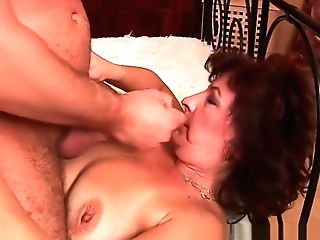 Grand-ma With Big Tits And Hairy Gash Gets Facial Cumshot