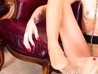 Dirty Little Blonde April Paisley Wanks In Crotchless Pantyhose And Stuffs Her Cootchie With Nylon