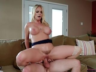 Caring Stepson Knows How To Relieve Big-titted Stepmom After Hard Working Day