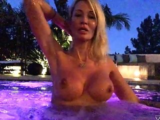 Torrid Auburn Jessica Drake Flashes Her Boobies In The Pool At Night